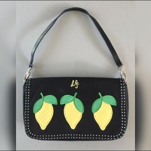 Lulu Guinness Handbags - LULU GUINNESS BLACK CANVAS LEMON HANDBAG Black